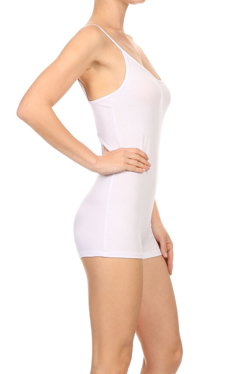 Right side view of White USA Basic Cotton Spaghetti Strap Short Jumpsuit