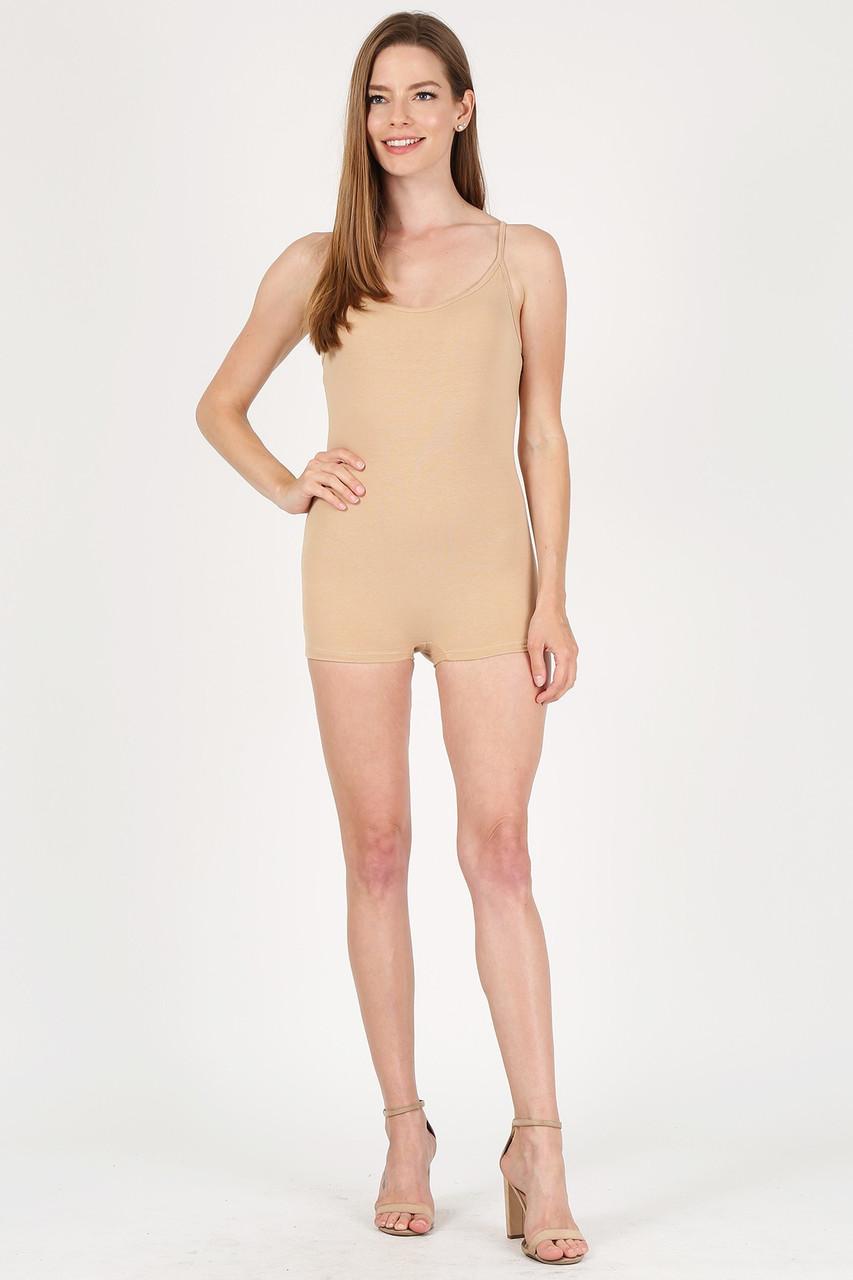 Front view of Beige USA Basic Cotton Spaghetti Strap Short Plus Size Jumpsuit