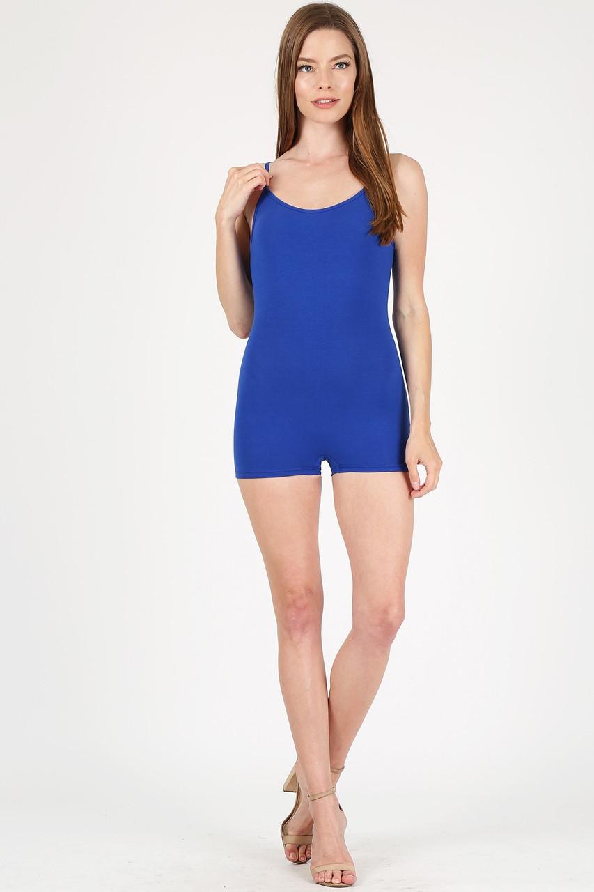 Front view of Blue USA Basic Cotton Spaghetti Strap Short Plus Size Jumpsuit
