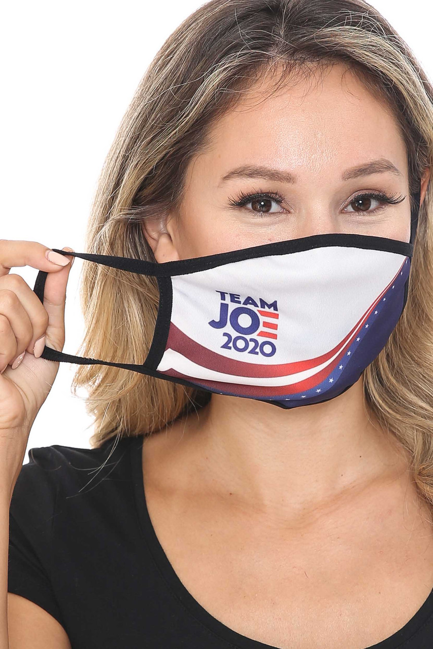 Front view of Team Joe Biden Face Mask showing elastic ear support