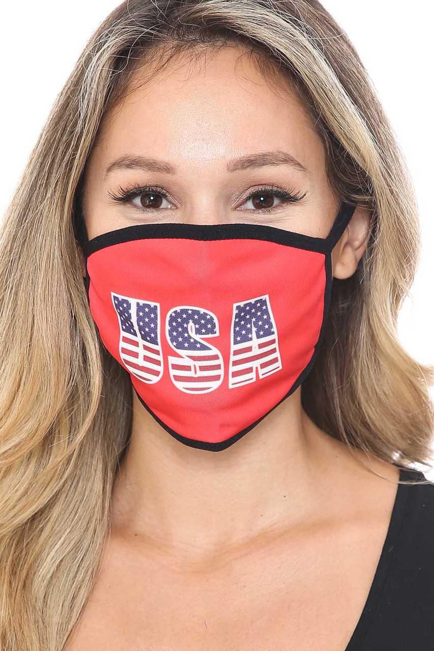 Front view of Election USA Face Mask with a stars and stripes filled USA text design with a red background.