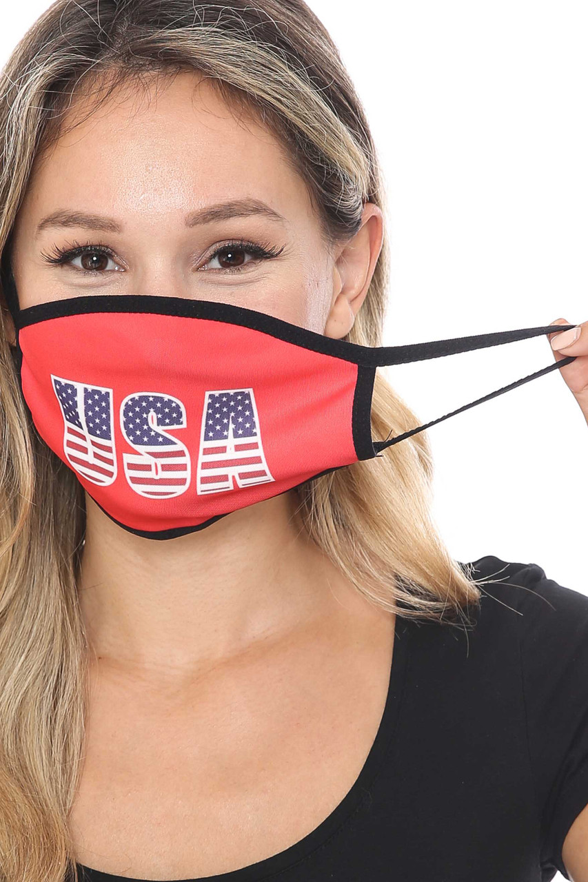 Front view of Election USA Face Mask showing elastic ear supports