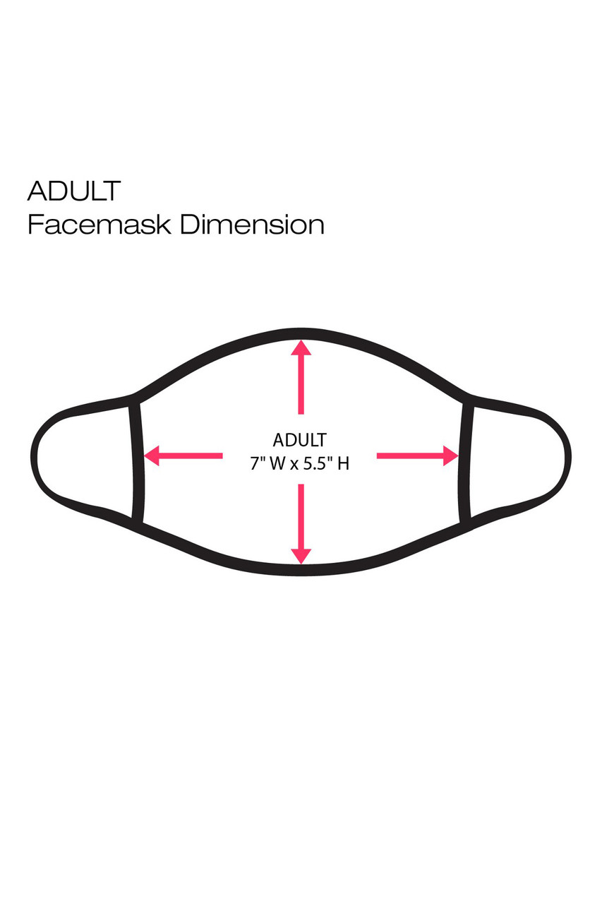 """Digital outline of Election USA Face Mask showing dimensions, 7"""" x 5.5"""