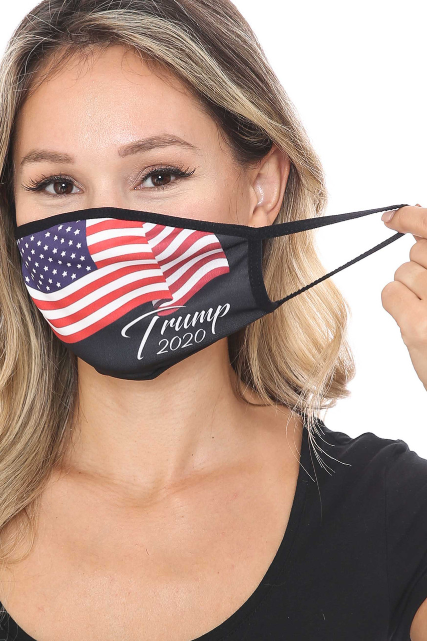 Front view of Trump 2020 Face Mask with an elastic ear support.