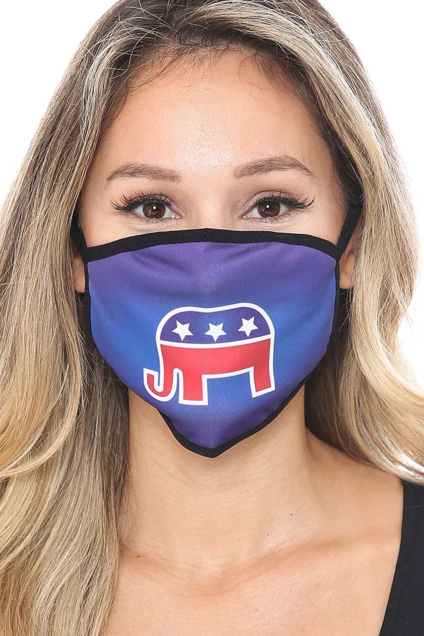 Front view of Republican Elephant Face Mask with a high quality patriotic digital print.