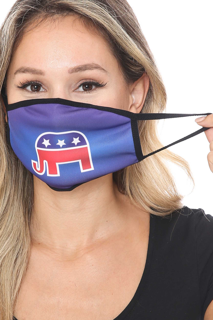 Front of Republican Elephant Face Mask showing off elastic ear supports.