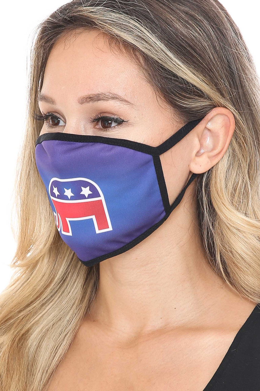 45 degree view of Republican Elephant Face Mask