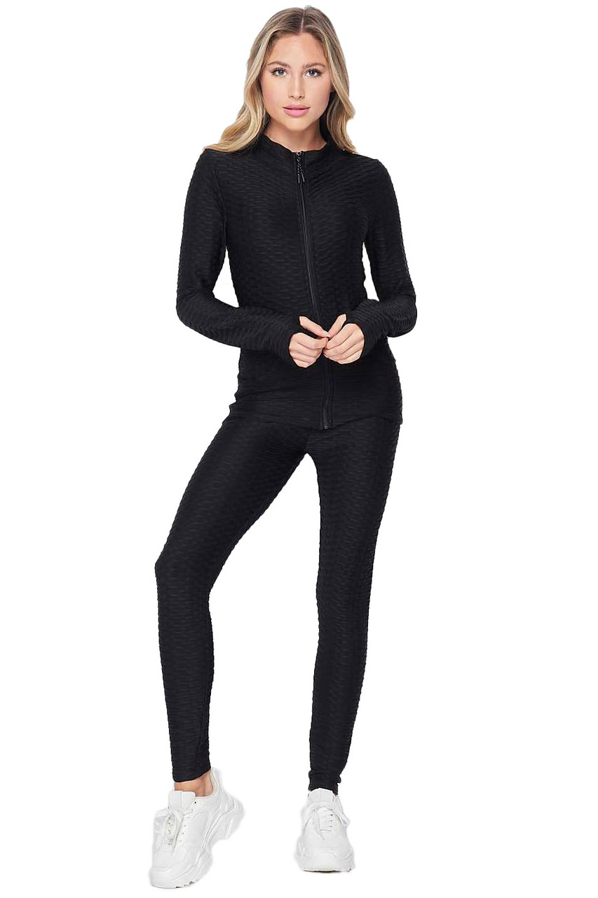 Front view of Black 2 Piece Brazilian Scrunch Butt Leggings and Jacket Set with Thumb Hole