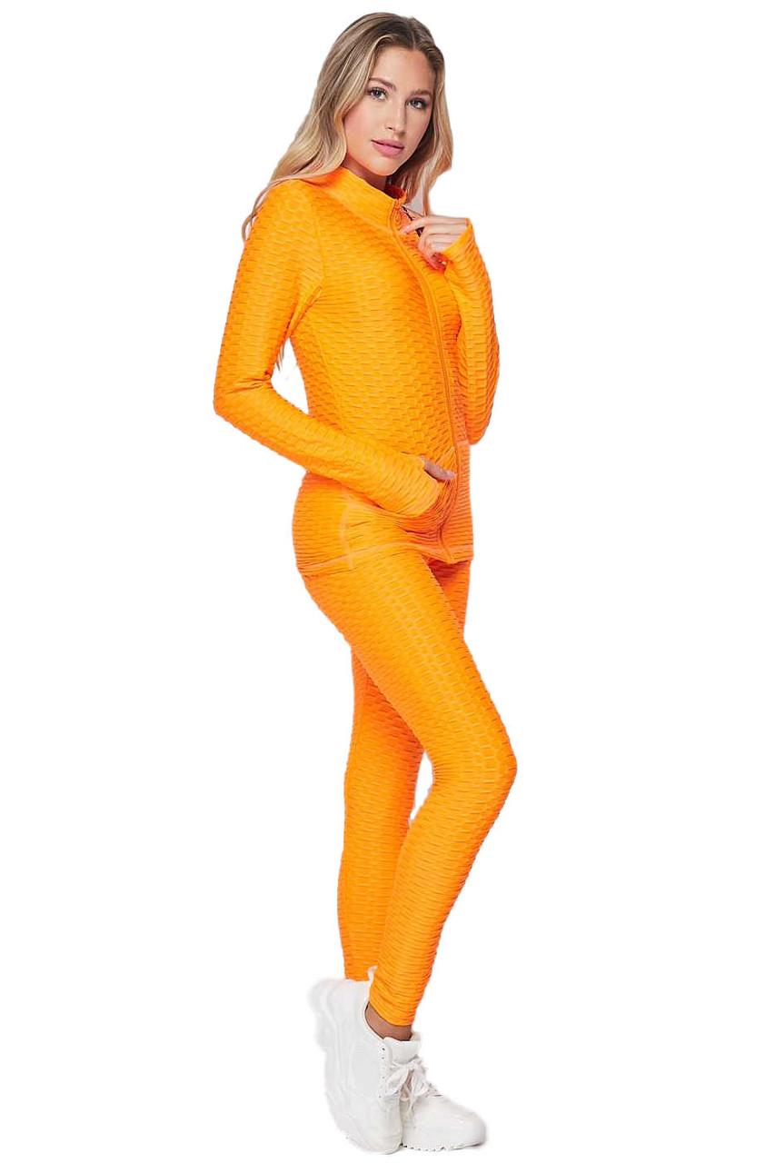 Neon Orange 2 Piece Brazilian Scrunch Butt Leggings and Jacket Set with Thumb Hole