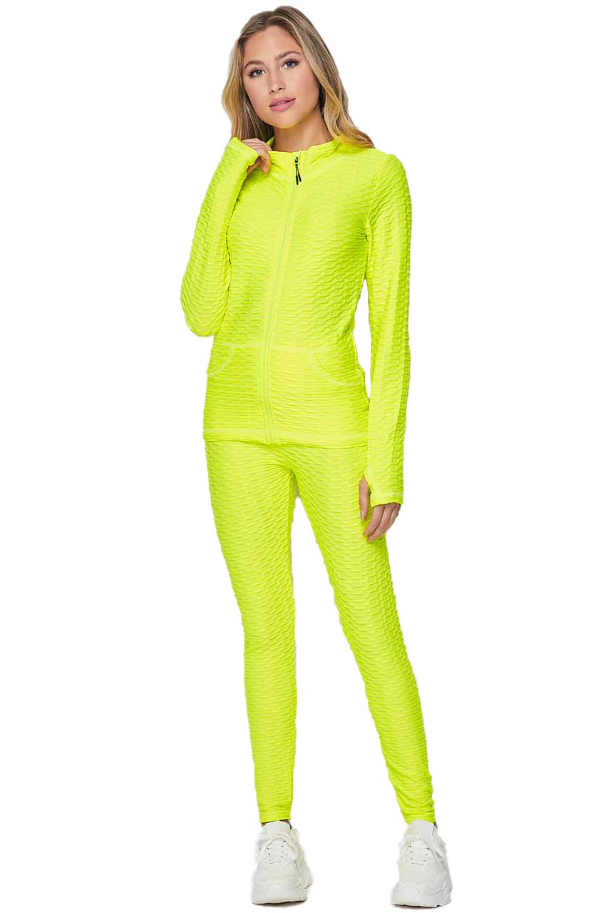 Front of Neon Yellow 2 Piece Brazilian Scrunch Butt Leggings and Jacket Set with Thumb Hole
