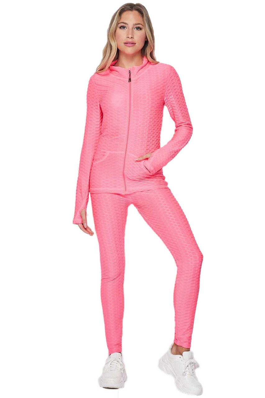 Neon Pink 2 Piece Brazilian Scrunch Butt Leggings and Jacket Set with Thumb Hole