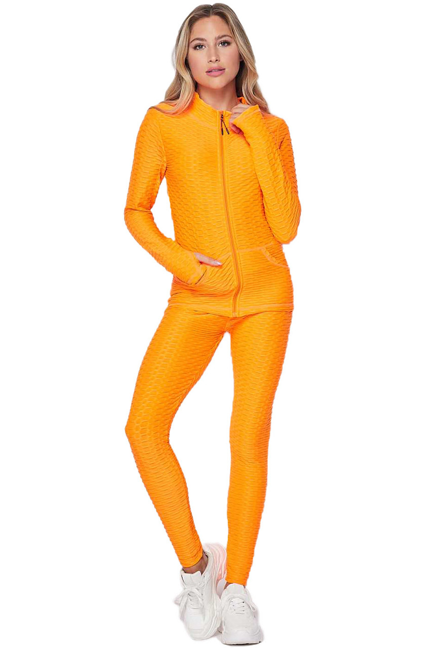 Front of Neon Orange 2 Piece Brazilian Scrunch Butt Leggings and Jacket Set with Thumb Hole