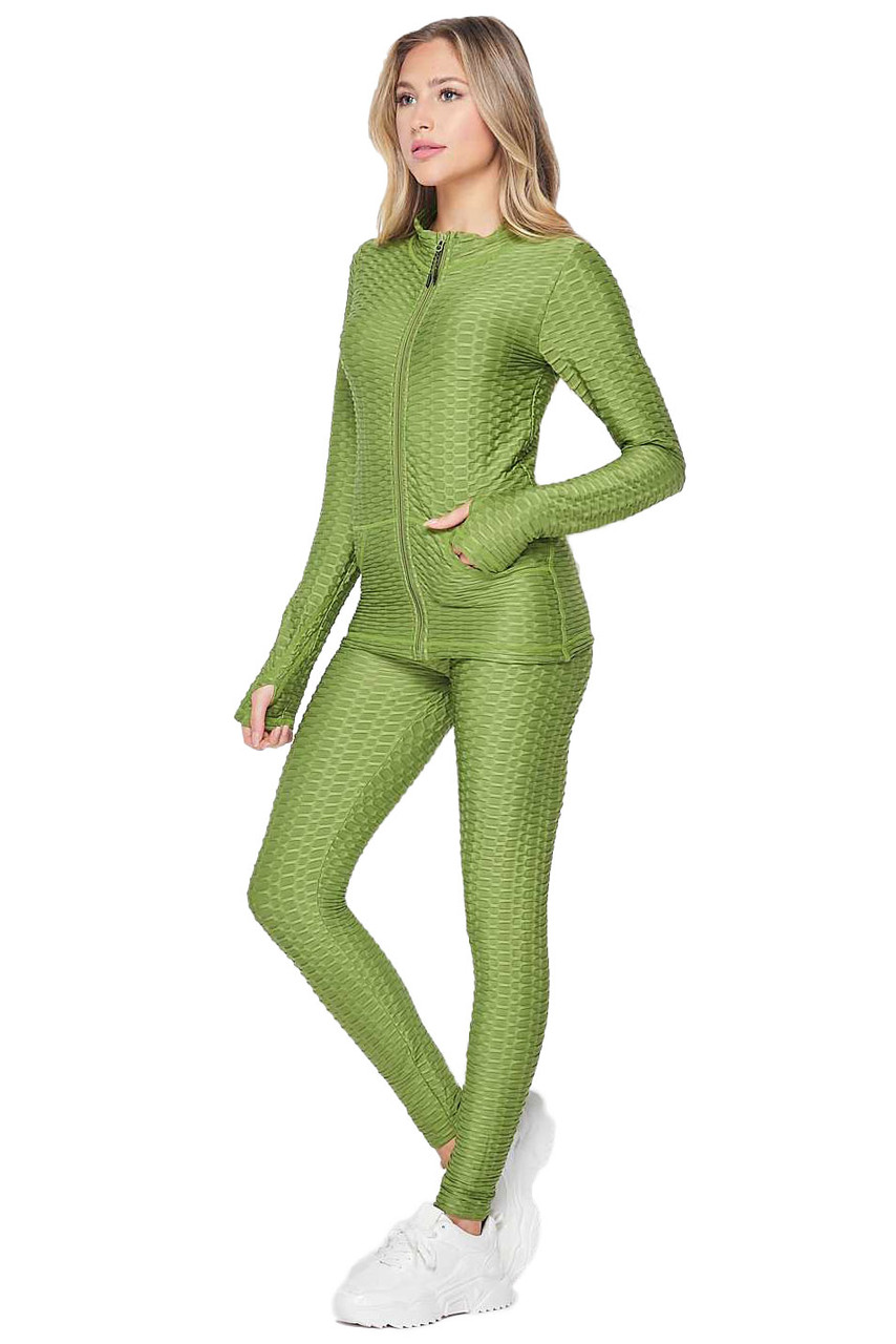 45 degree view of olive 2 Piece Brazilian Scrunch Butt Leggings and Jacket Set with Thumb Hole