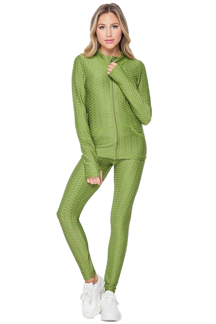 Front view of Olive 2 Piece Brazilian Scrunch Butt Leggings and Jacket Set with Thumb Hole