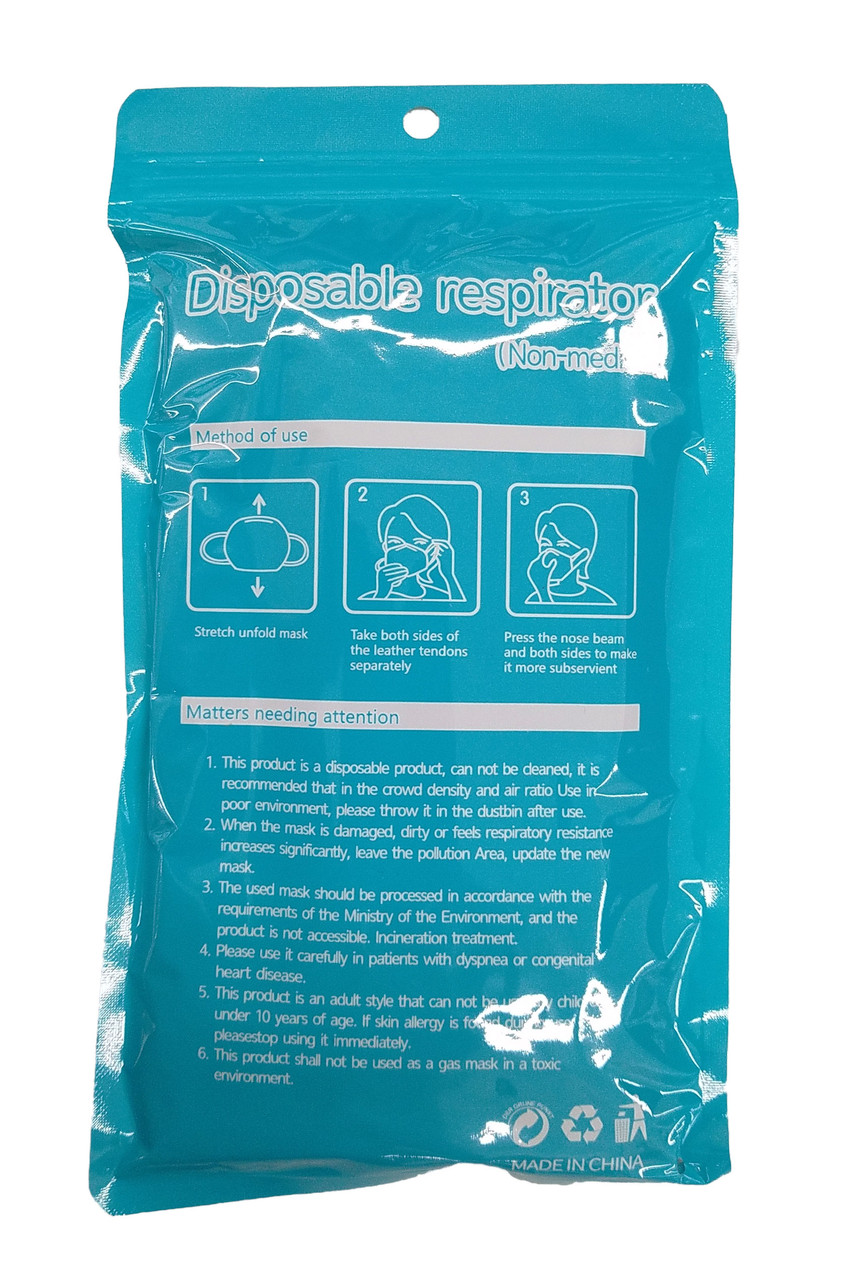 Back of packaging for Black Disposable Face Mask - 10 Pack - 3 Ply