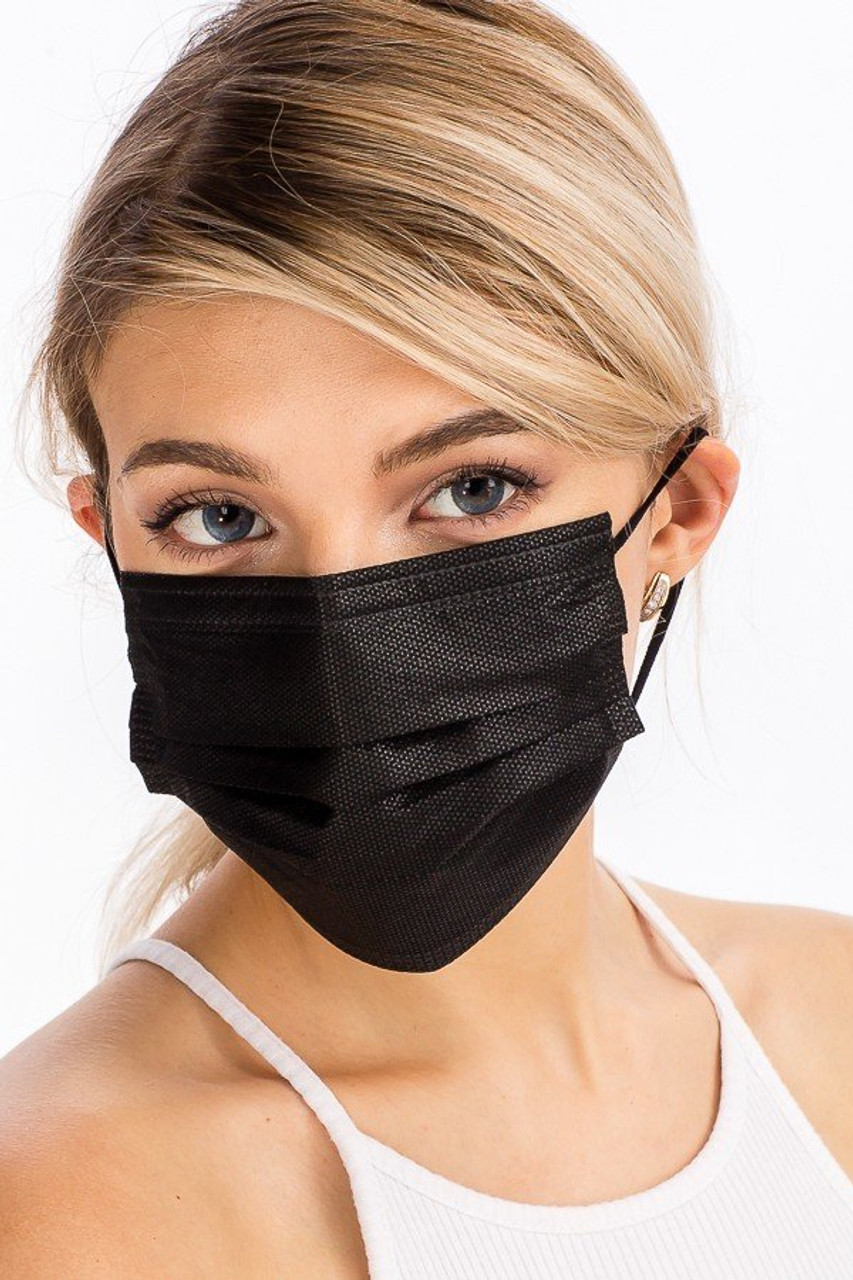 Front modeled view of Black Disposable Face Mask - 10 Pack - 3 Ply