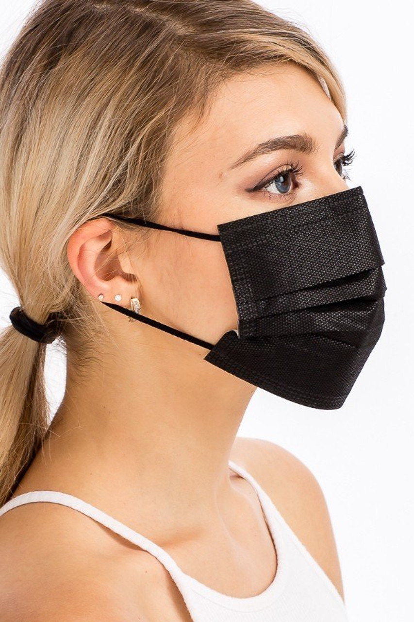 Right side view of Black Disposable Face Mask showing elastic ear supports