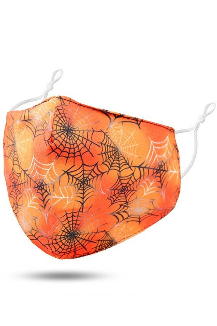 45 degree view of Orange Spiderwebs Halloween Kids Face Mask