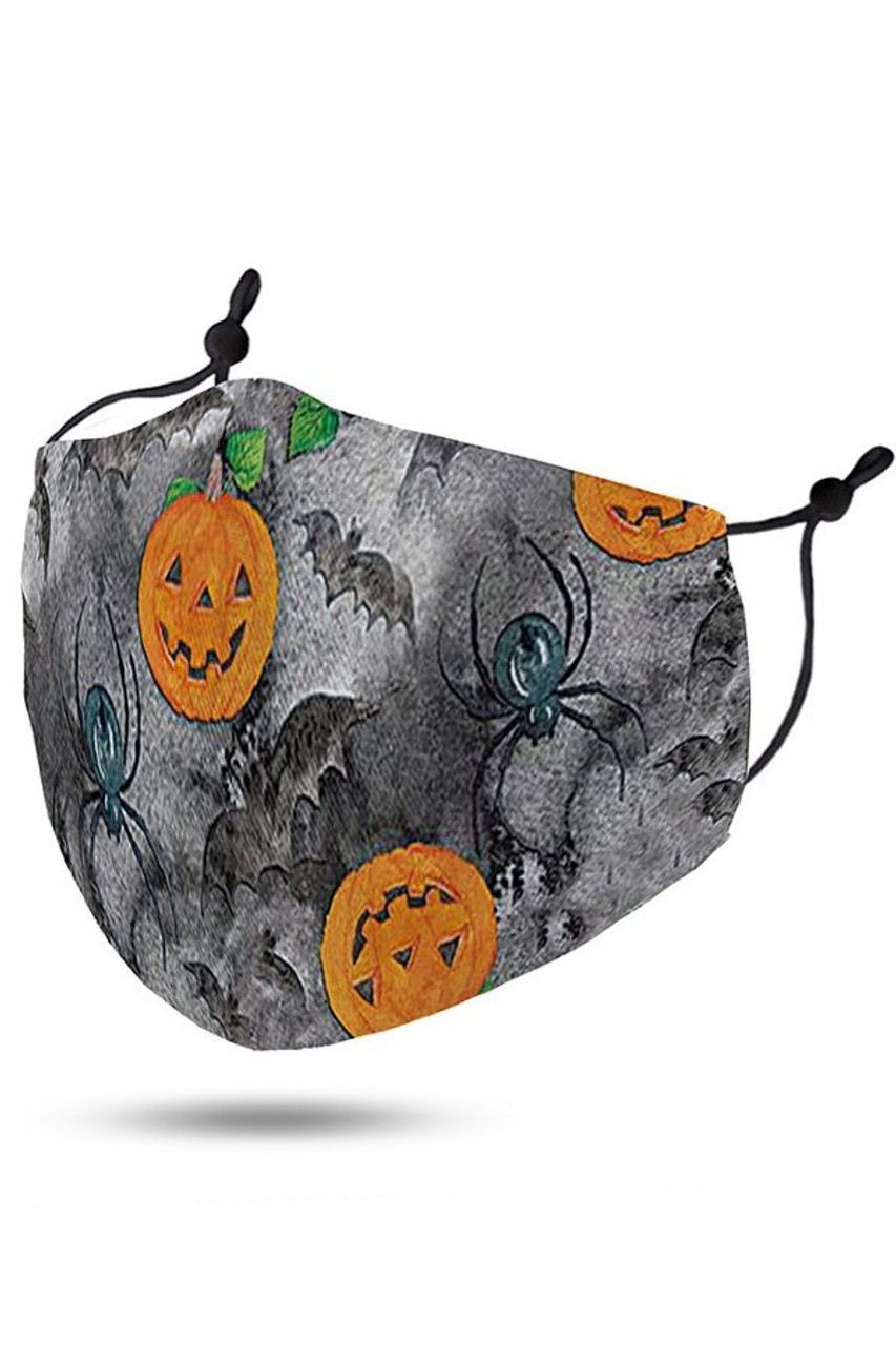 45 degree view of Pumpkins Bats and Spiders Halloween Kids Face Mask