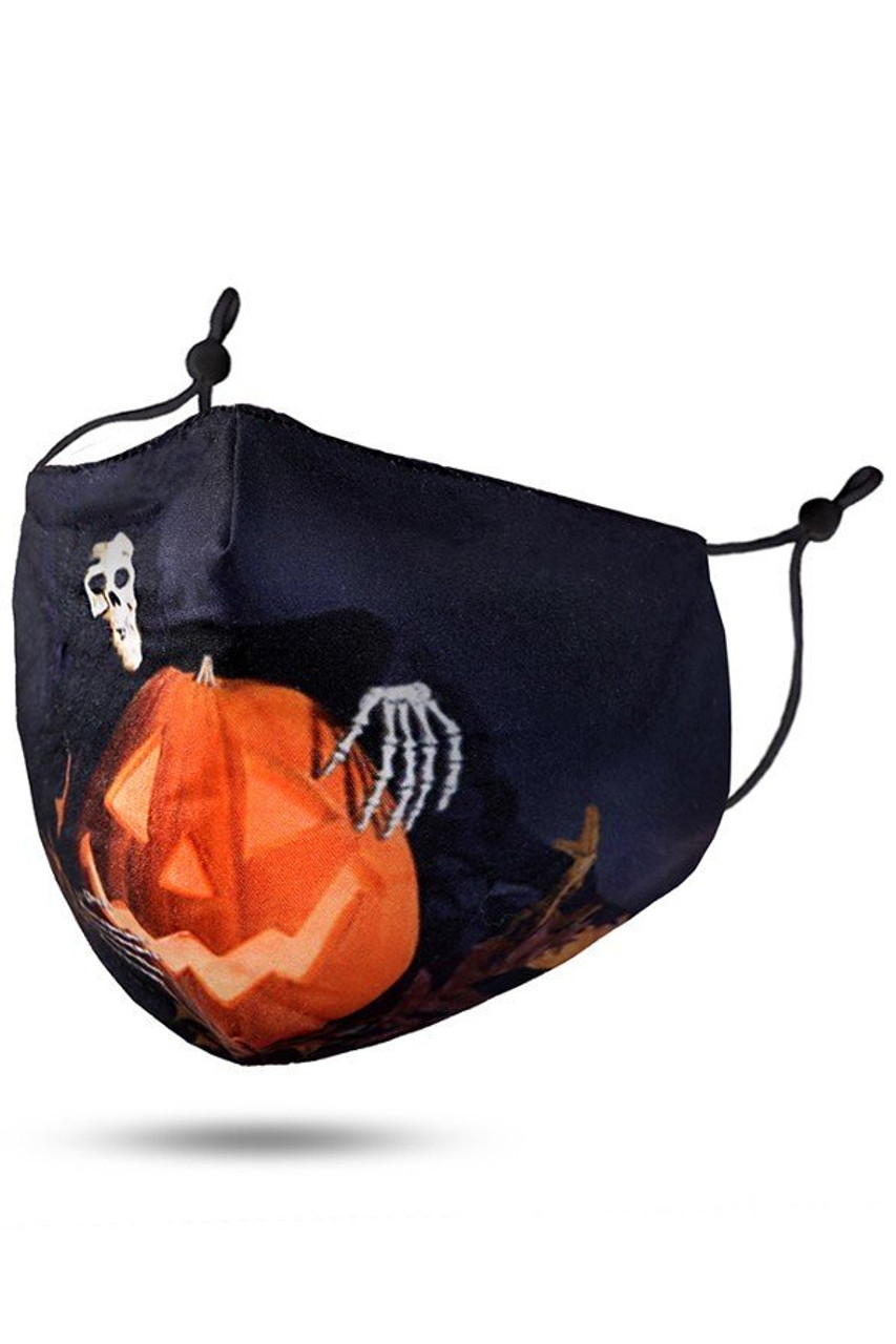 45 degree view of Pumpkin and Evil Skeleton Face Mask