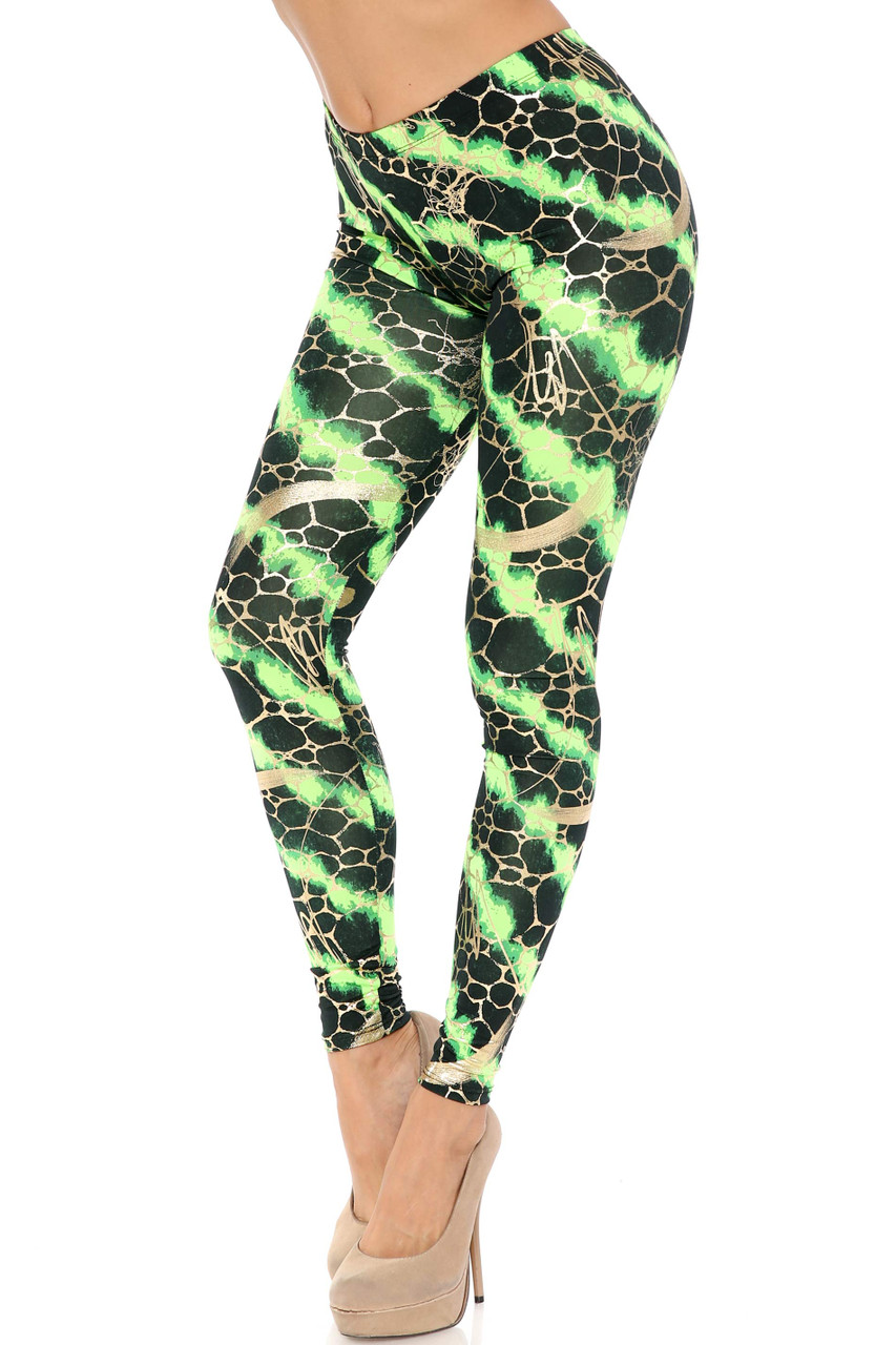 45 degree view of green Colorcade Plus Size Leggings - Made in USA - LIMITED EDITION