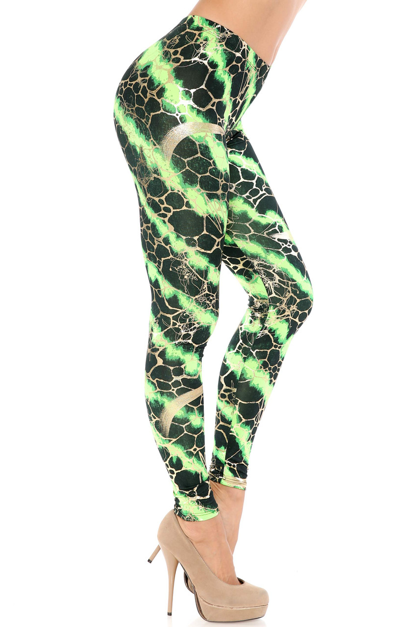 Right side view of Green Colorcade Plus Size Leggings - Made in USA - LIMITED EDITION