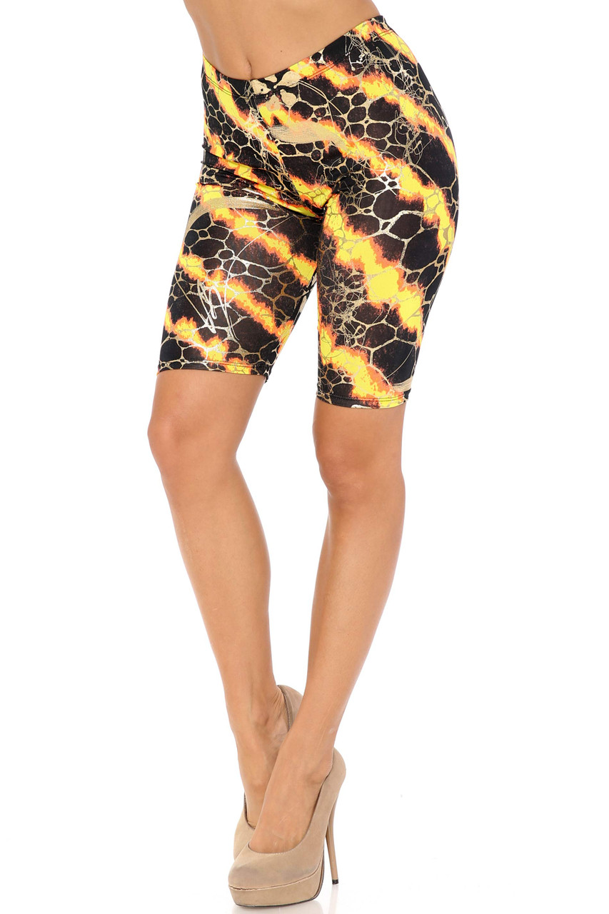 45 degree view of Orange Colorcade Plus Size Biker Shorts - Made in USA - LIMITED EDITION