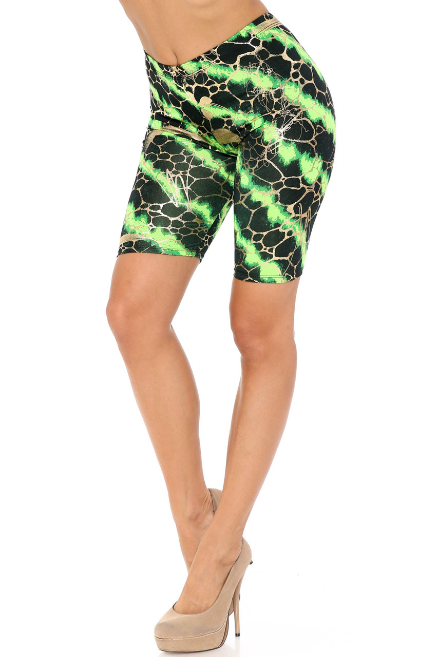 45 degree view of green Colorcade Plus Size Biker Shorts - Made in USA - LIMITED EDITION
