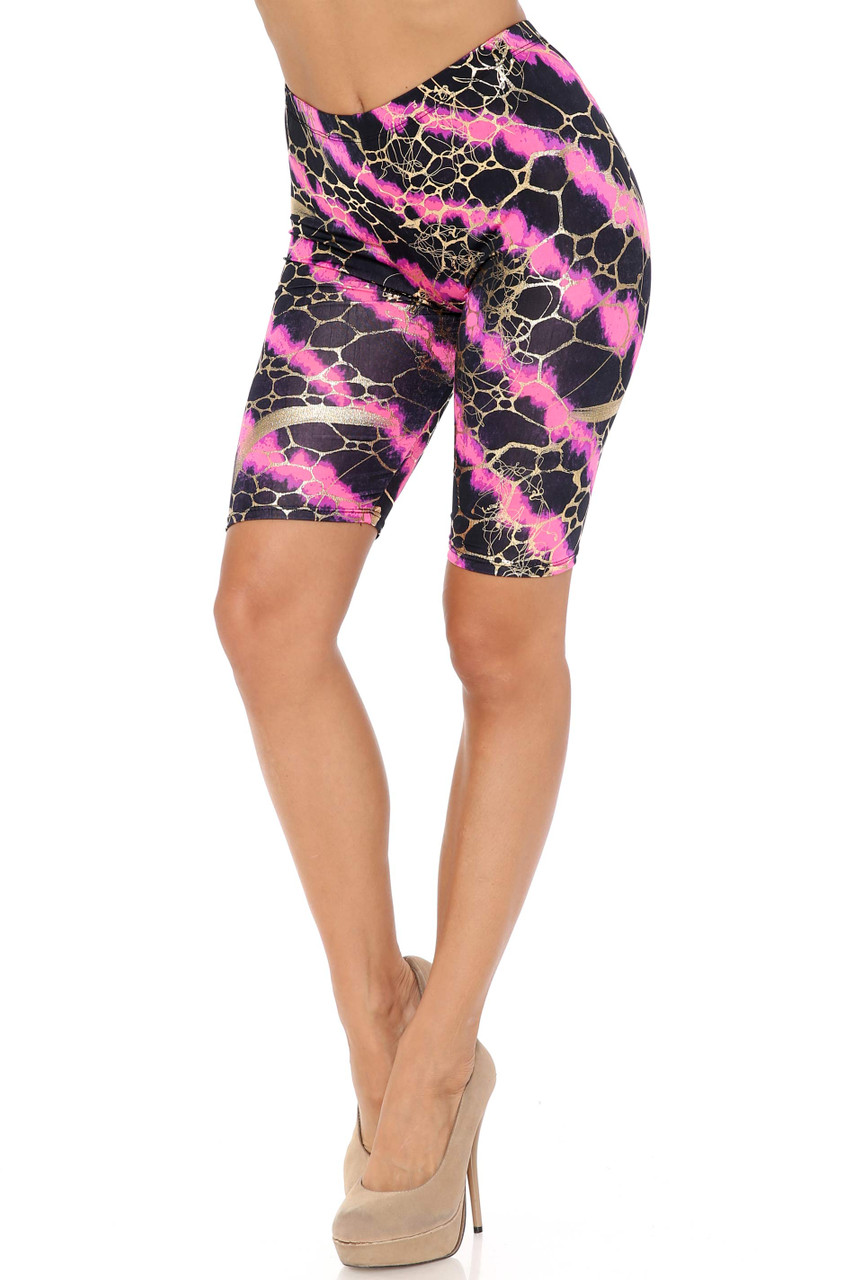 45 degree view of Fuchsia Colorcade Plus Size Biker Shorts - Made in USA - LIMITED EDITION
