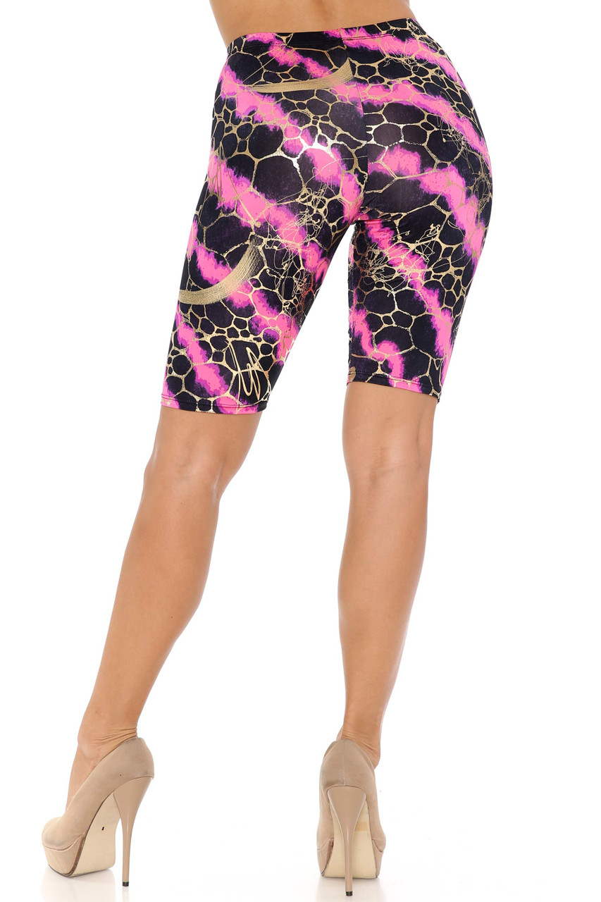 Rear view of Fuchsia Colorcade Plus Size Biker Shorts - Made in USA - LIMITED EDITION