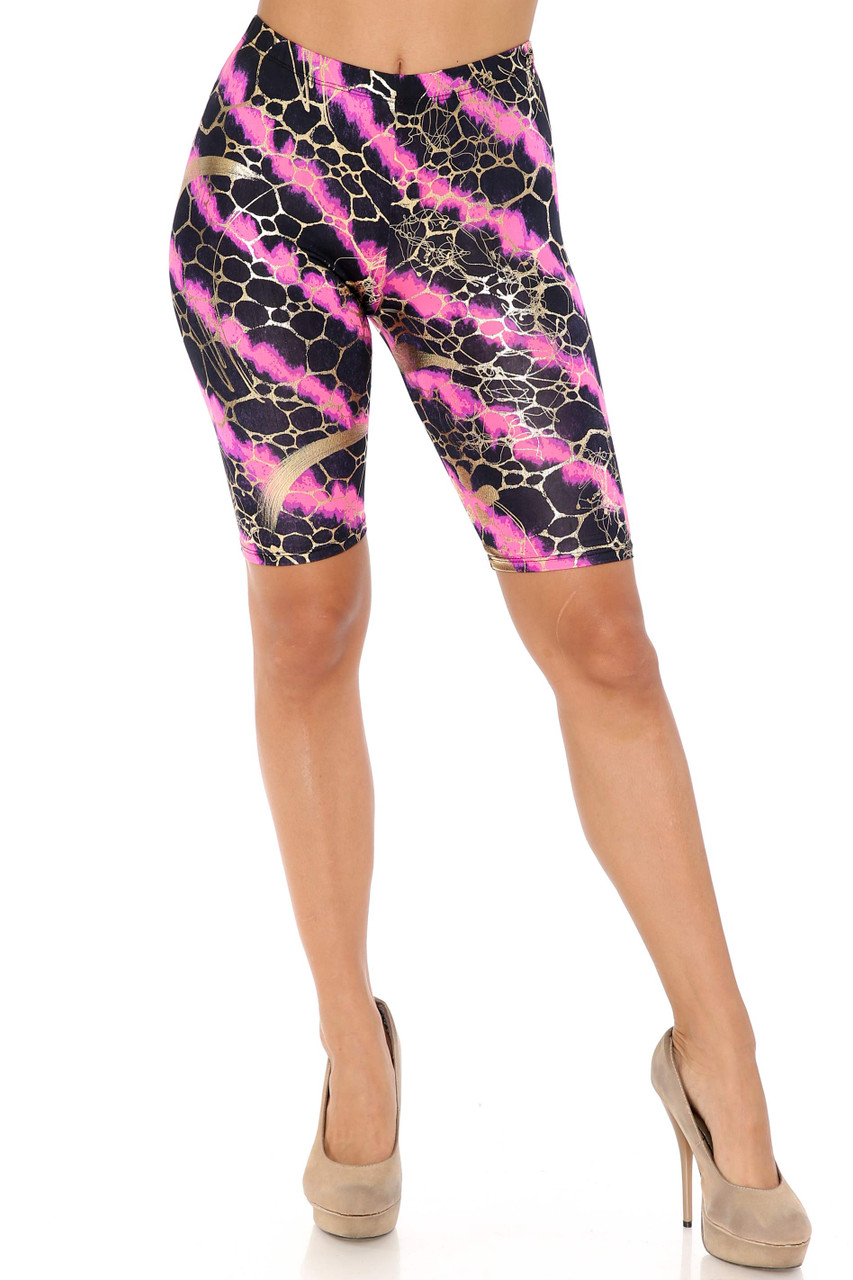Front view of Fuchsia Colorcade Plus Size Biker Shorts - Made in USA - LIMITED EDITION