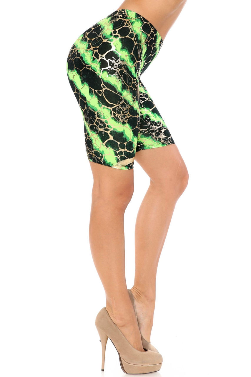 Right side view of Green Colorcade Plus Size Biker Shorts - Made in USA - LIMITED EDITION