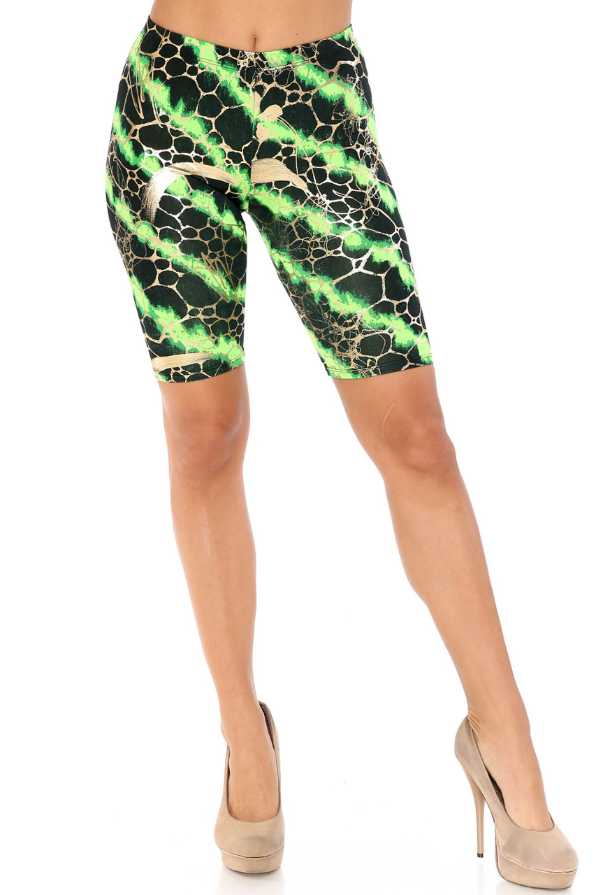 Front view of Green Colorcade Plus Size Biker Shorts - Made in USA - LIMITED EDITION