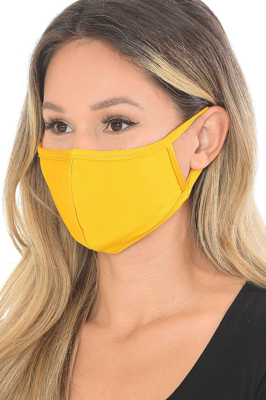 Gold Yellow Premium Scuba Face Mask with Rear PM2.5 Pocket