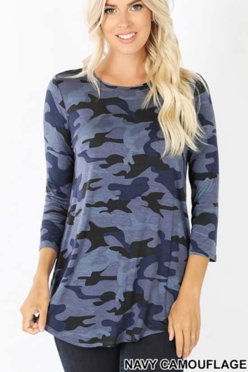 Front view of Blue Rayon Camouflage 3/4 Sleeve Round Neck & Hem Top