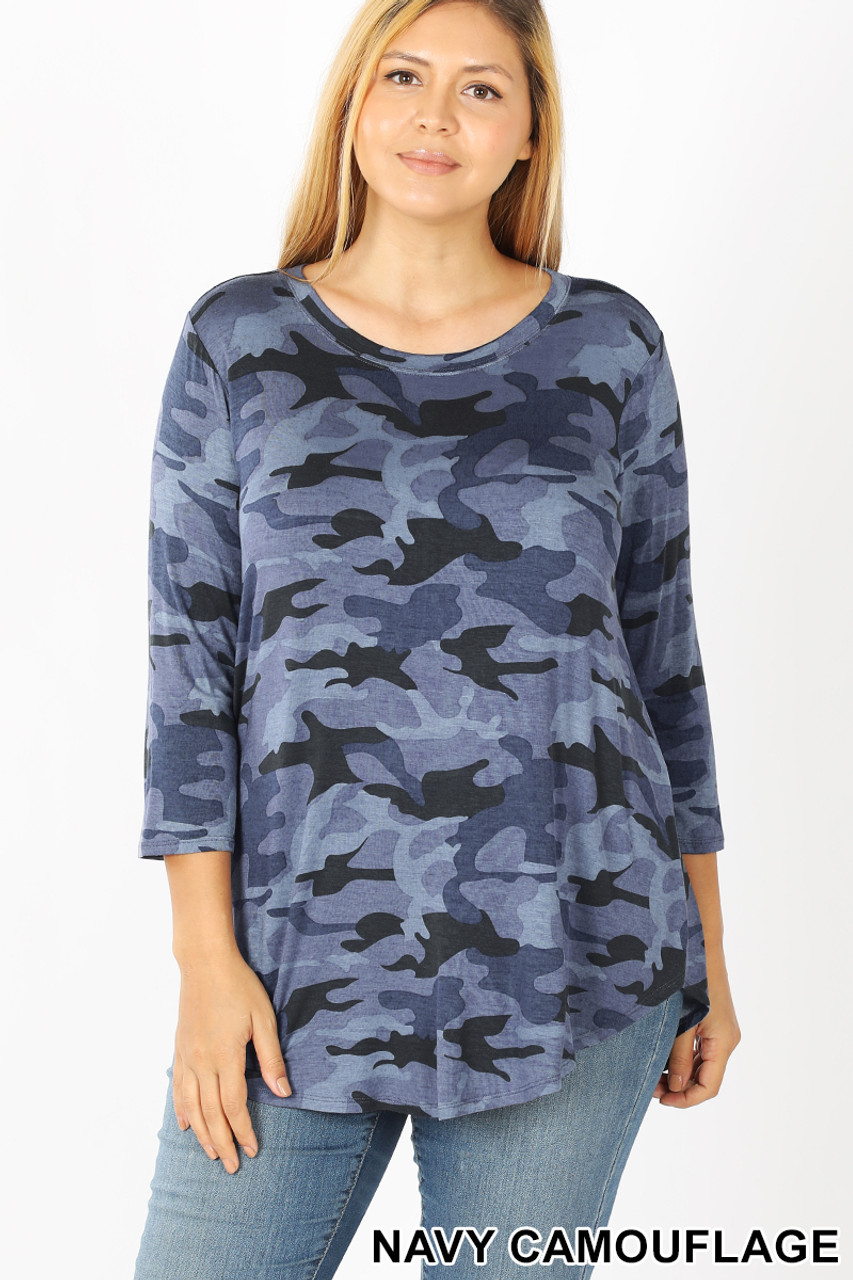 Front view of Blue Rayon Camouflage 3/4 Sleeve Round Neck & Hem Plus Size Top
