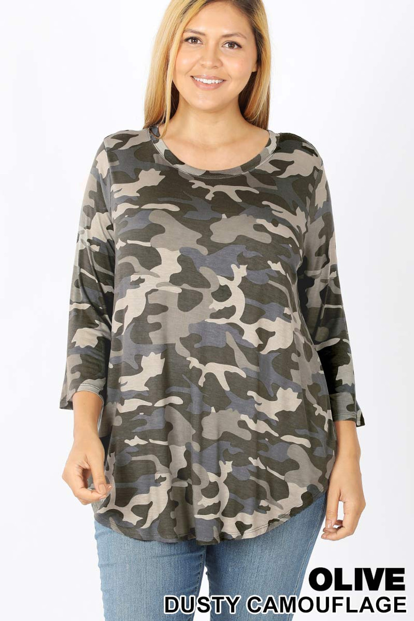 Front view of Olive Rayon Camouflage 3/4 Sleeve Round Neck & Hem Plus Size Top