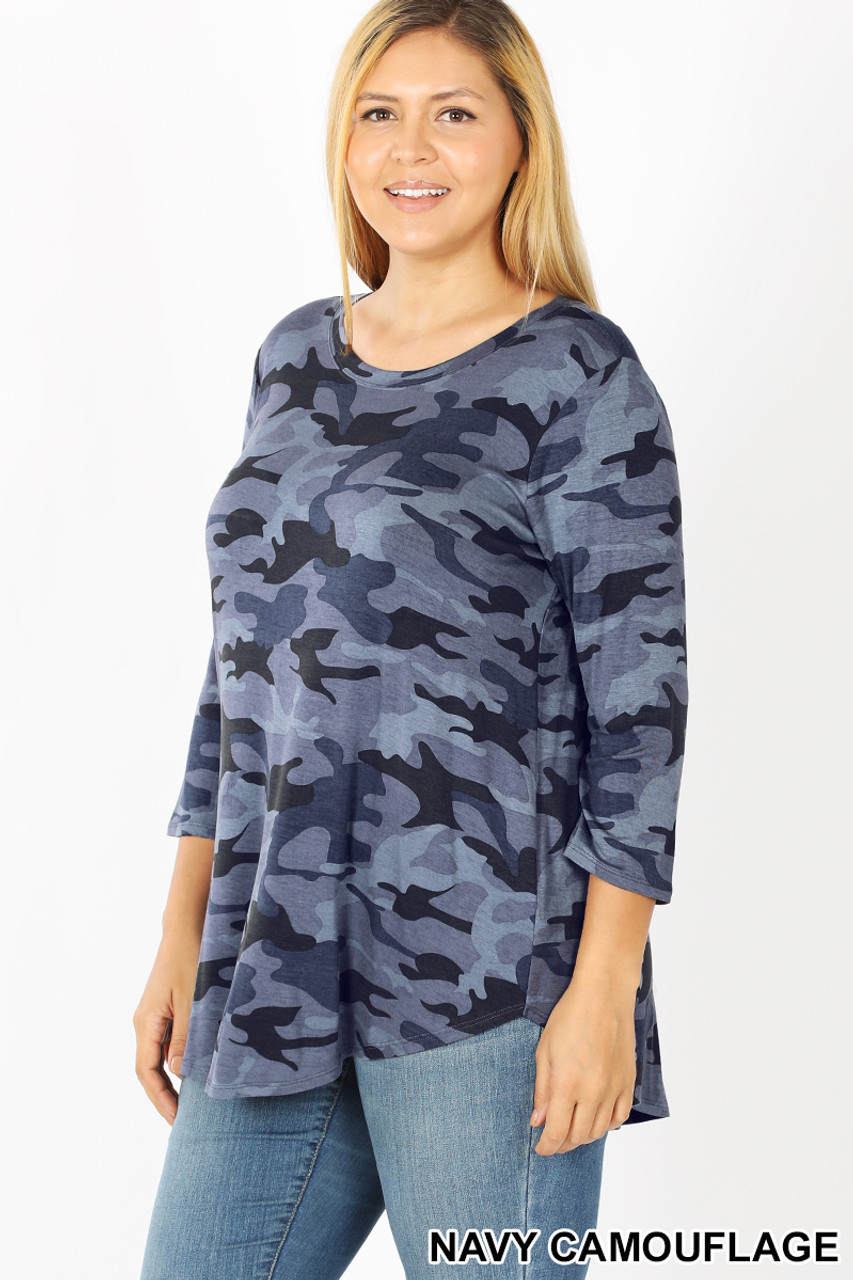 45 degree view of Blue Rayon Camouflage 3/4 Sleeve Round Neck & Hem Plus Size Top