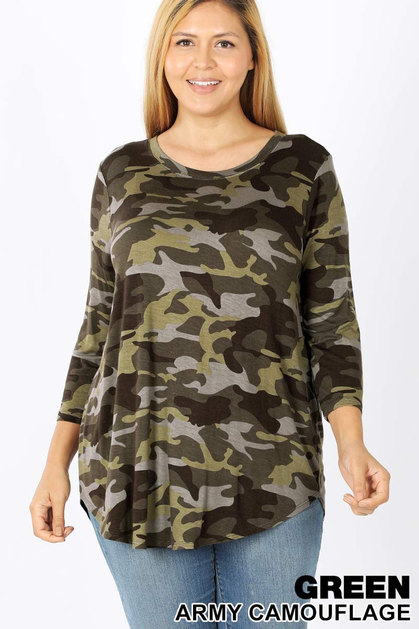 Front view of Green Rayon Camouflage 3/4 Sleeve Round Neck & Hem Plus Size Top