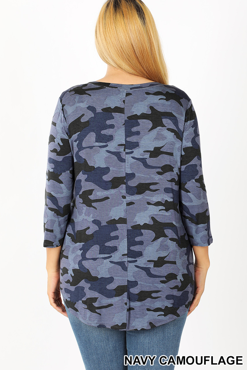 Back view of Blue Rayon Camouflage 3/4 Sleeve Round Neck & Hem Plus Size Top