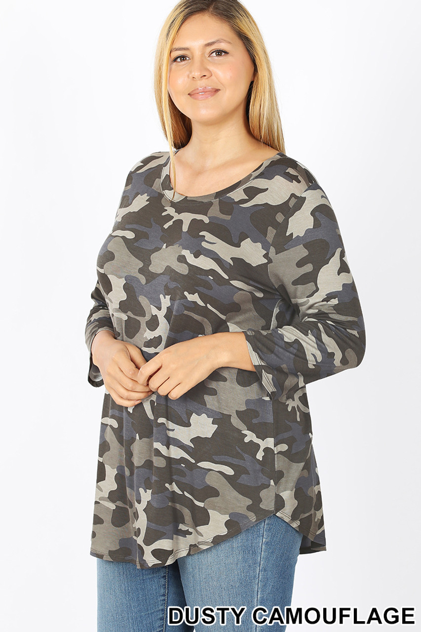 45 degree view of Olive Rayon Camouflage 3/4 Sleeve Round Neck & Hem Plus Size Top