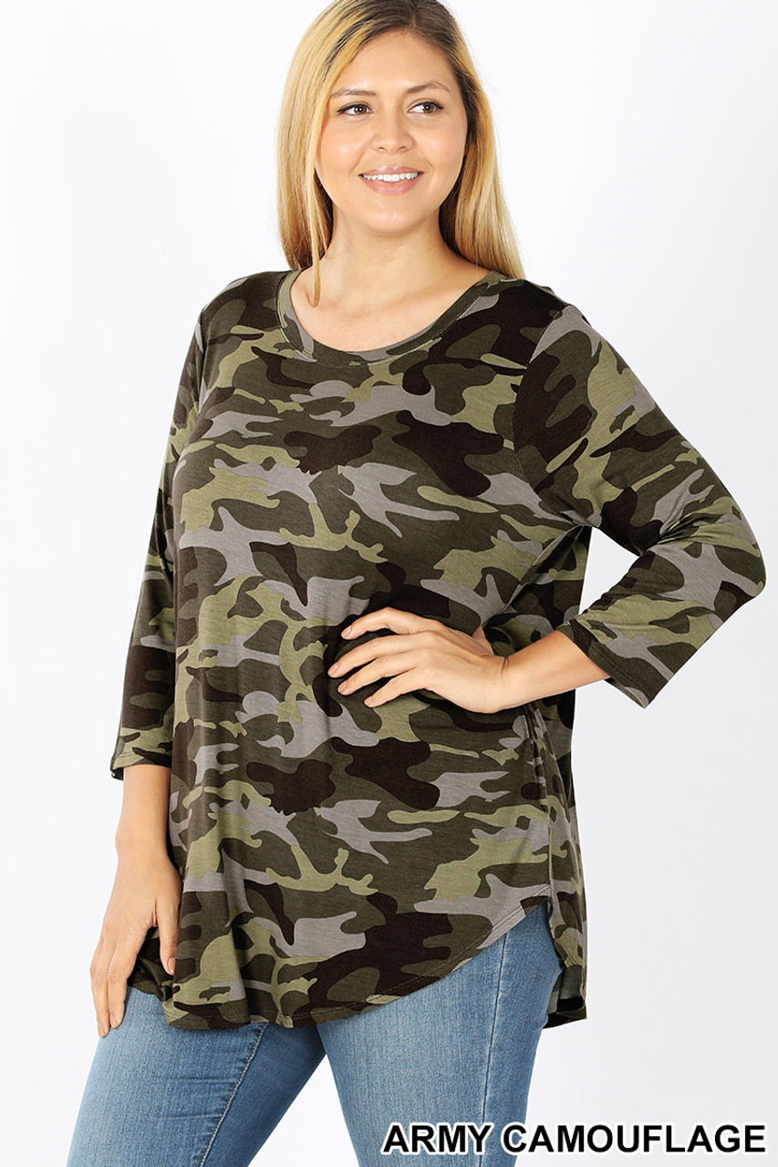 45 degree view of Green Rayon Camouflage 3/4 Sleeve Round Neck & Hem Plus Size Top