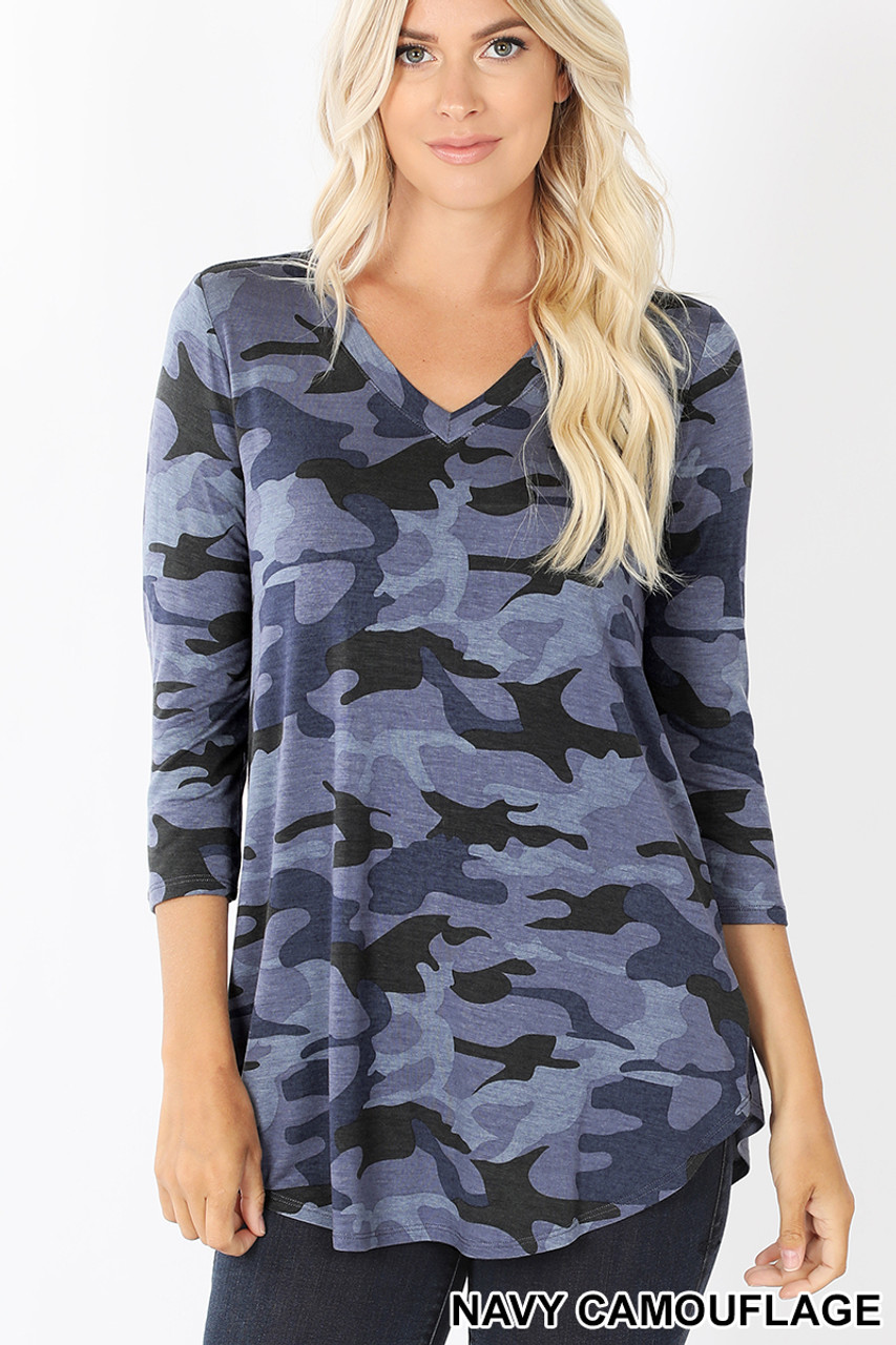 Front view of Blue Rayon Camouflage 3/4 Sleeve V-Neck & Hem Top