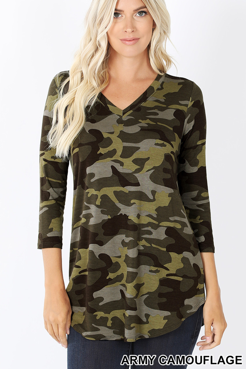 Front view of Green Rayon Camouflage 3/4 Sleeve V-Neck & Hem Top