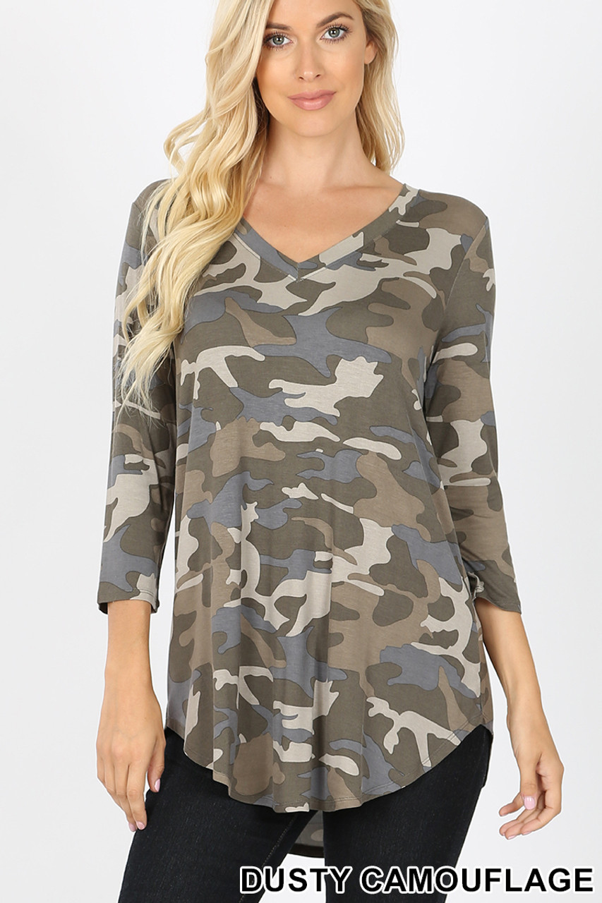Front view of Olive Rayon Camouflage 3/4 Sleeve V-Neck & Hem Top