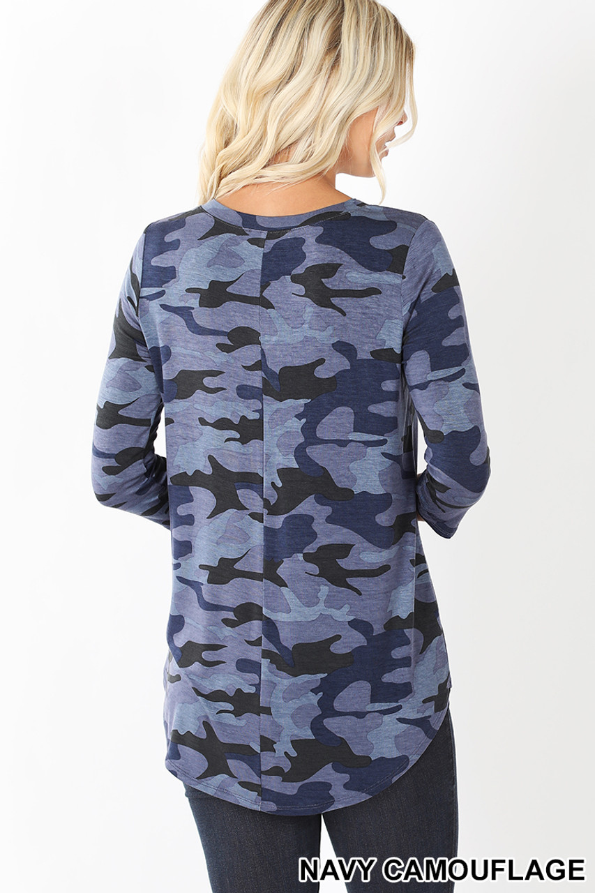 Back view of Blue Rayon Camouflage 3/4 Sleeve V-Neck & Hem Top