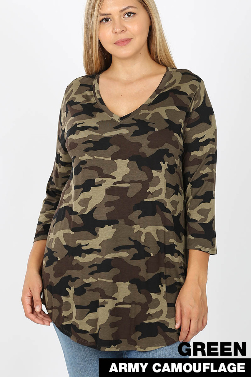 Front view of Green Rayon Camouflage 3/4 Sleeve V-Neck & Round Hem Plus Size Top