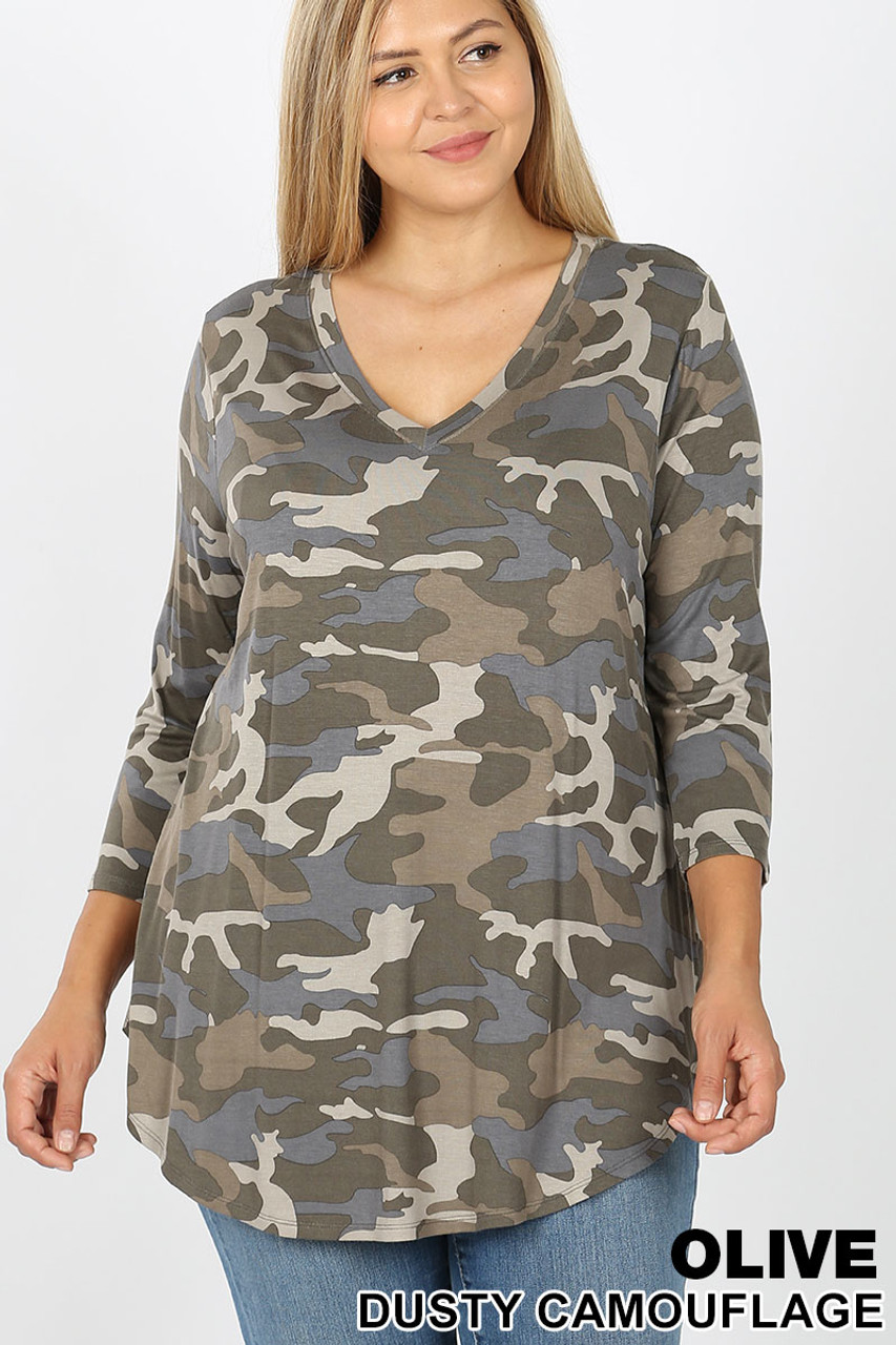 Front view of Olive Rayon Camouflage 3/4 Sleeve V-Neck & Round Hem Plus Size Top