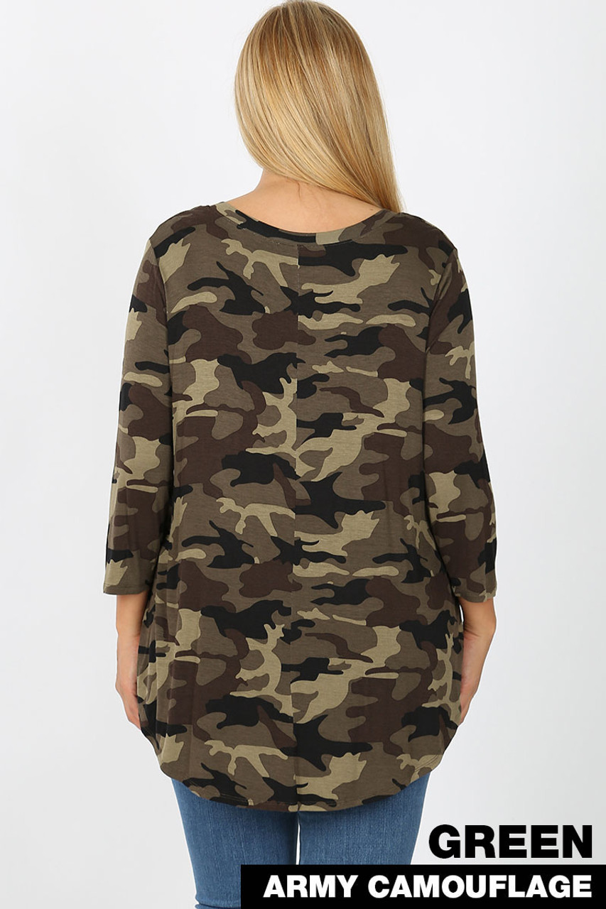 Rear view of Green Rayon Camouflage 3/4 Sleeve V-Neck & Round Hem Plus Size Top