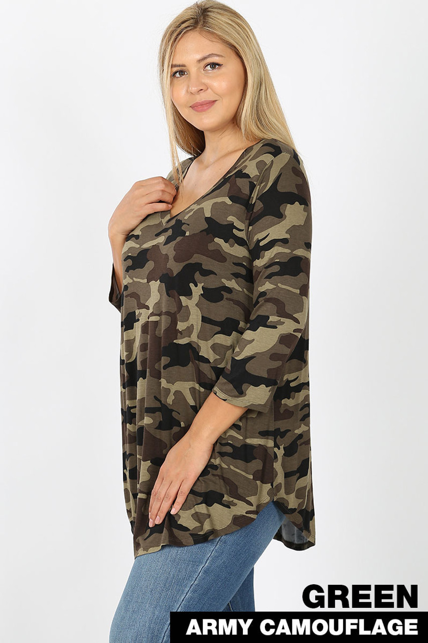 Left side view of Green Rayon Camouflage 3/4 Sleeve V-Neck & Round Hem Plus Size Top